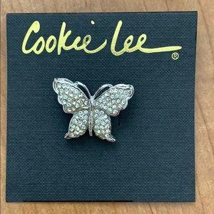 Cookie Lee Genuine Crystal Butterfly Pin